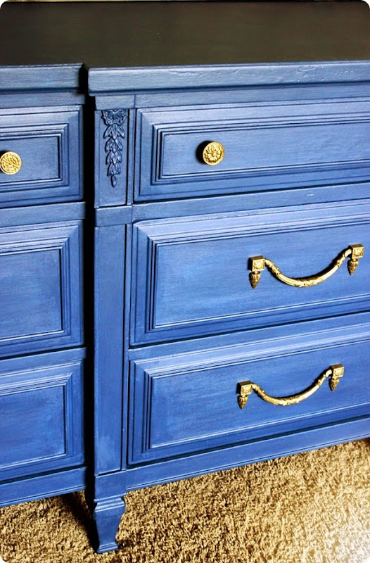 dresser done painted with annie sloan napoleonic blue chalk paint