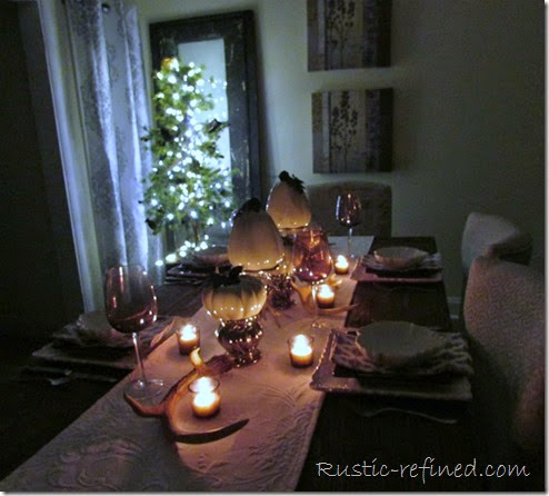 Purple and White Fall Tablescape with rustic elements