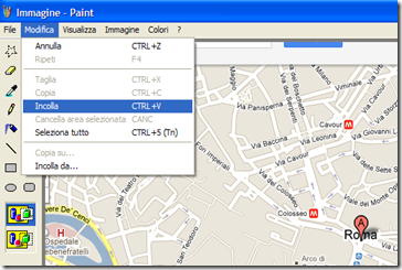 Incollare mappa Google Maps su Paint