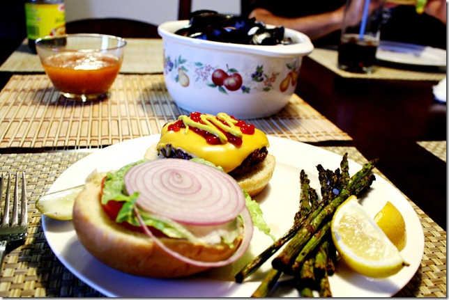 Burger, grilled asperigus, and mussles