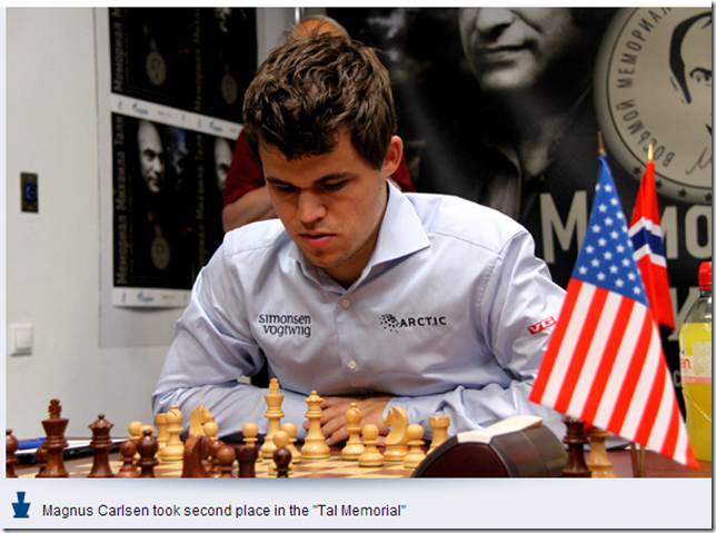 Carlsen during round 8, Tal Memorial 2013