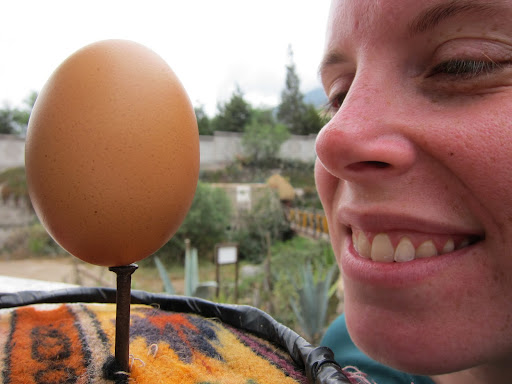 Heather's egg balancing perfectly on a nail.