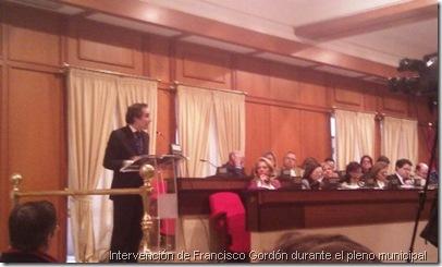 Intervención de Francisco Gordón durante el pleno municipal