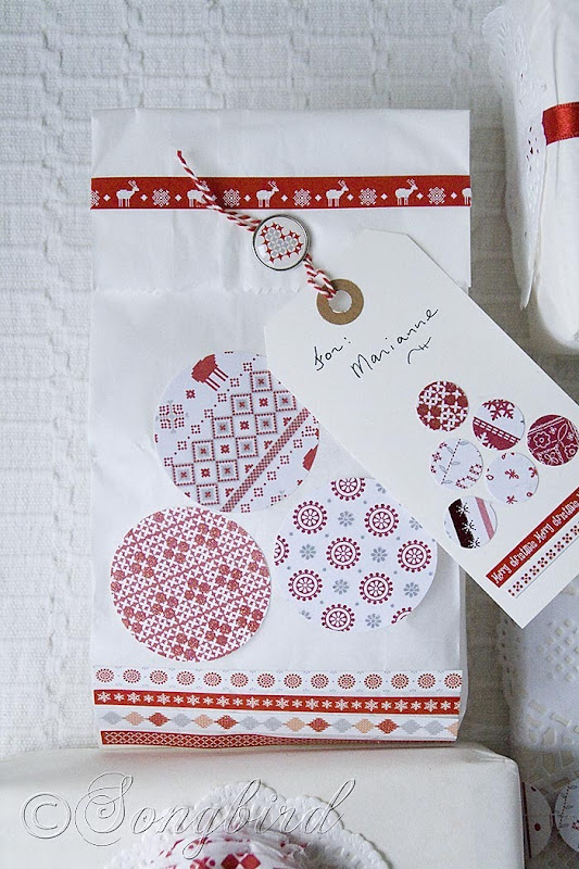 Songbird Christmas White Red Gift Wrapping 5