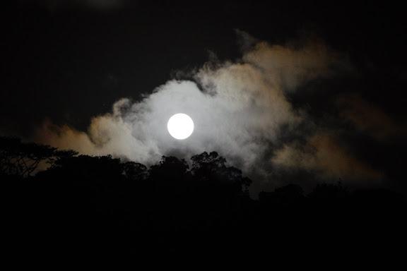 Lever de la lune devant les Carbets de Coralie (Crique Yaoni), 30 octobre 2012. Photo : J.-M. Gayman