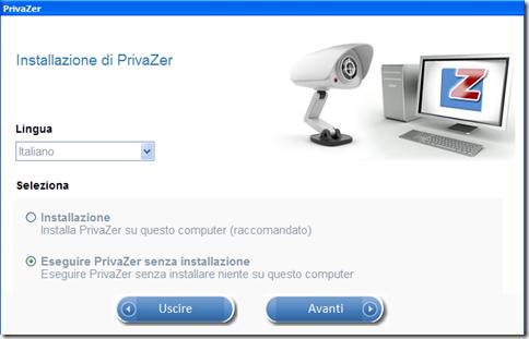 PrivaZer selezione lingua e metodo di esecuzione