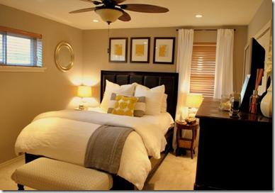 grey yellow beige bedroom