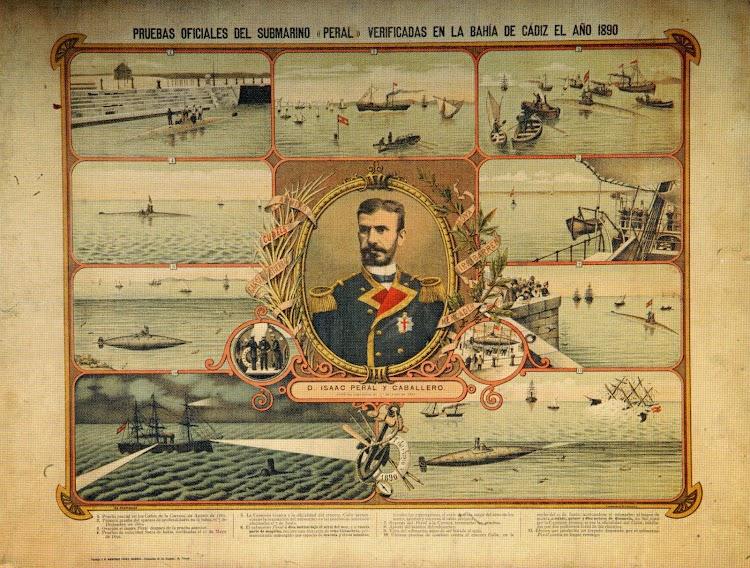 Postal que representa lo que deberían haber sido las pruebas del submarino. Foto del libro Barcos, Barcos y Barcos.Colección Jose Maria Armero.jpg