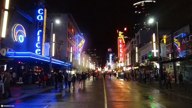 the Granville street during the Saturday night in Vancouver, British Columbia, Canada