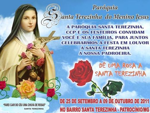 Festa em louvor a Santa Terezinha - A paróquia e os festeiros convidam todas as famílias de patrocínio