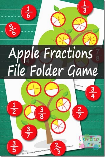 FREE Apple fraction math game - help kids practice fractions with this fun fall apple themed game (math, 2nd grade, 3rd grdae, 4th grade, 5th grade)