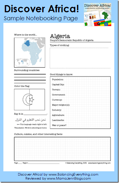 Discover Africa! (Sample Africa Notebooking Pages)