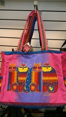 Laurel Burch bag w cats hot pink purple