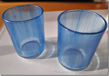 Blue Mod Podge Votives