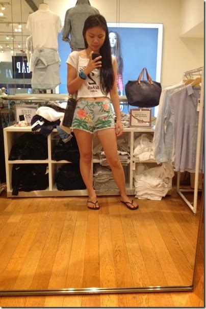 Bershka cropped top x Zara Tropic Flora denim shorts