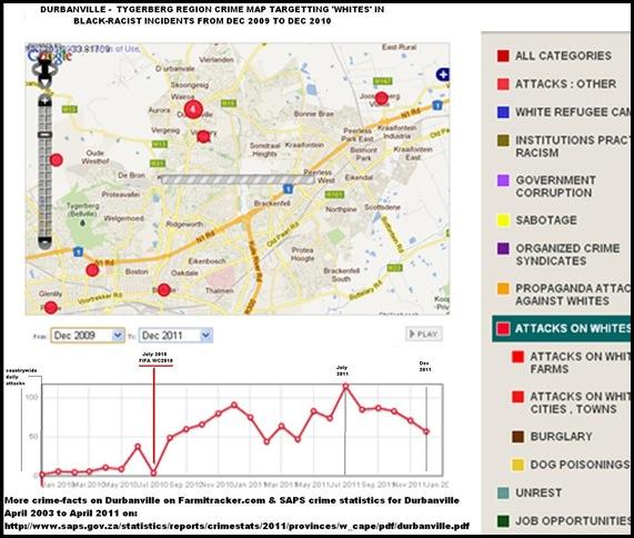 Durbanville Tygerberg crime map Farmitracker targetting whites Dec2009 to Dec 2011