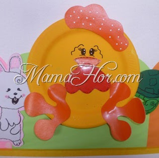 Decora tu Aula con platos descartables: Gallina Naranja y Roja