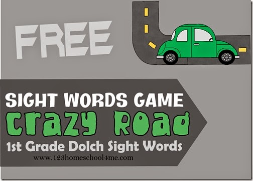 Crazy Roads Sight Word Game using 1st grade dolch sight words
