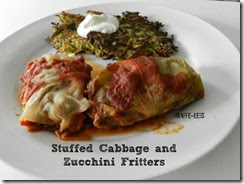 Stuffed cabbage and Zucchini Fritters