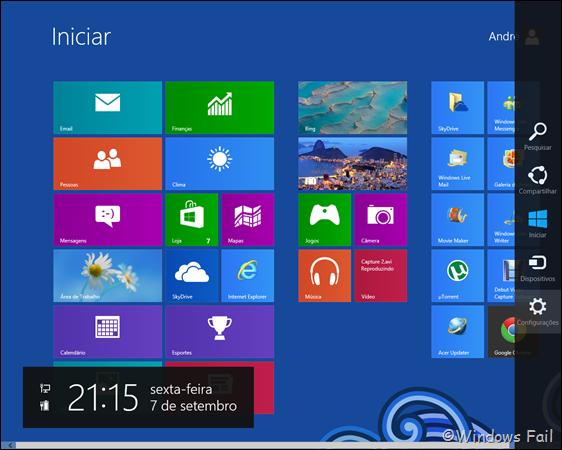 Na tela inical, mova o mouse para a lateral direita até aparecer uma barra. Clique em Configurações