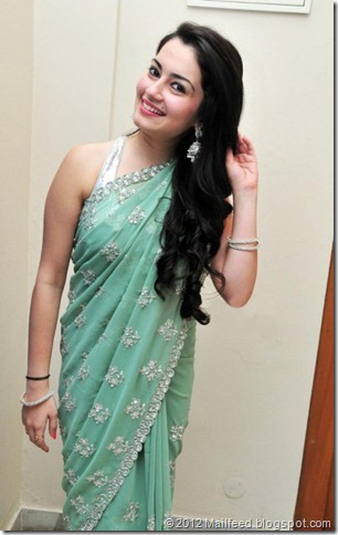 shambhavi-sharma-aquamarine-colour-saree