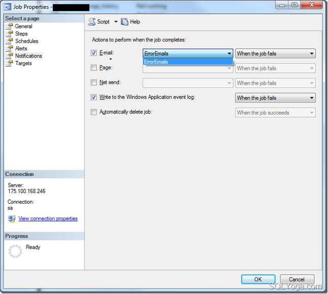 SQL Yoga Configure notification to send an email when JOB fails #3