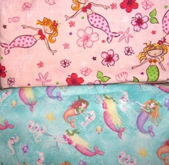 fabric mermaids pink and lgt turquoise