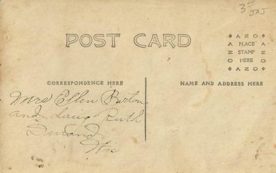 Postcard Ellen Barton and Ruth D L Antiques back