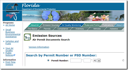 Florida Department of Environmental Protection Air Permit Documents Search