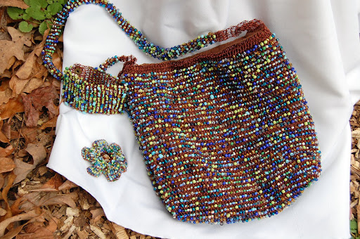 2 Pieces: Glass Beaded Bag & Brooch