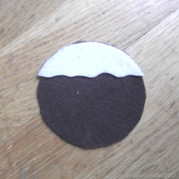 white felt applied to brown