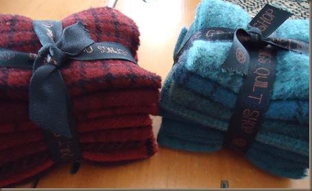 red and aqua wools