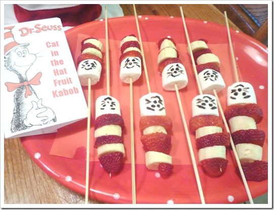 Cat and the Hat Fruit Kabobs