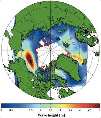Example wave model hindcast during September 2012 Arctic storm. The map is centered on the North Pole, and the mooring location is indicated by the black circle north of Alaska. The color scale indicates significant wave height from 0 to 5 m. Graphic: Thomson and Rogers, 2014