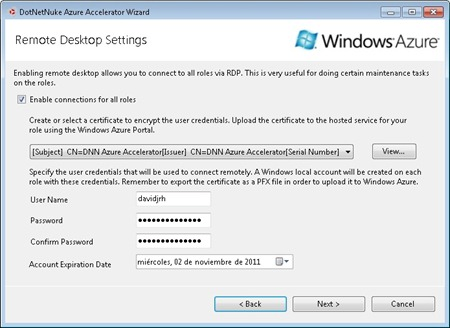 RDP Settings on the DNN Azure Accelerator