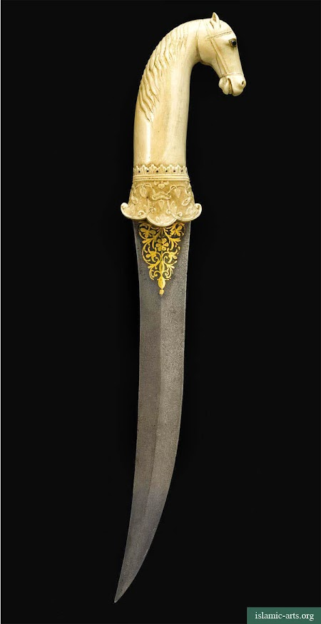 A RARE IVORY-HILTED HORSE HEAD DAGGER, INDIA, 18TH CENTURY