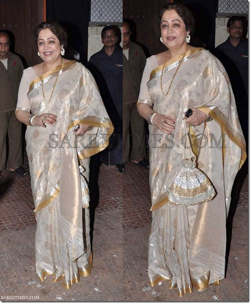 Kirron_Kher_Tan_Silk_Saree