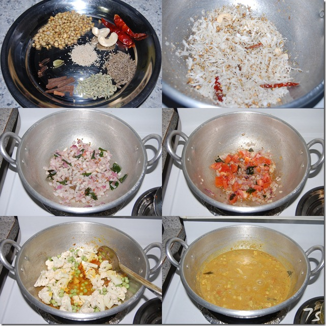 Cauliflower peas kurma process