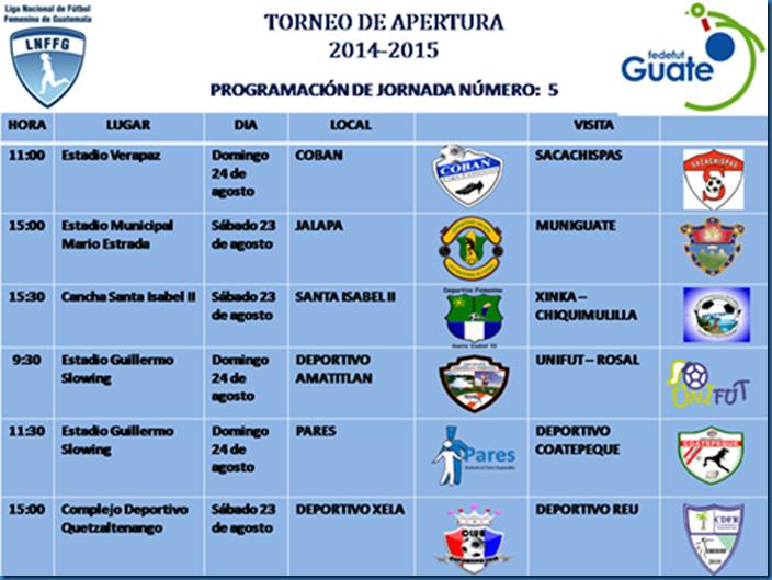 5ta. jornada del torneo apertura LNFFG.2014.-