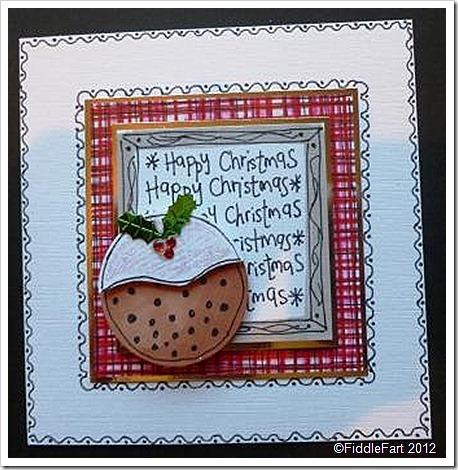 Doodled Handrawn Christmas Pudding Christmas Card