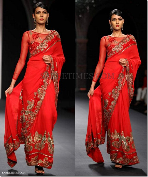 Varun_Bahl_Red_Georgette_Saree