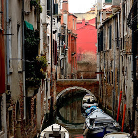 Venice by Bruno Brunetti - City,  Street & Park  Street Scenes ( water, afternoon, colors, venice; boats )