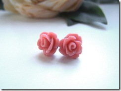 Petite Pink Rose Earrings