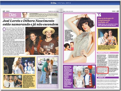 jornal o dia 03092012 - Priscila e Maxwell Palheta