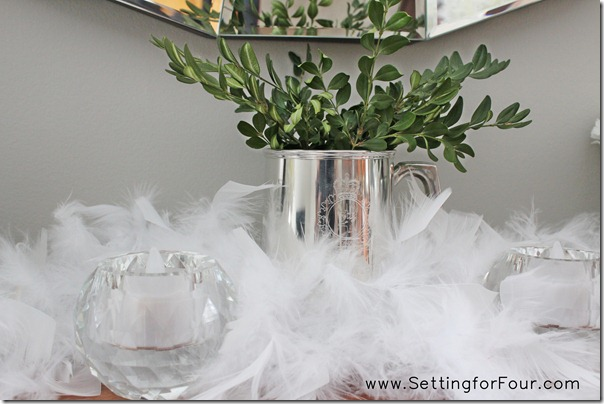 White Boa gives the effect of snow for a Winter Mantle from Setting for Four #white #mantle #decor