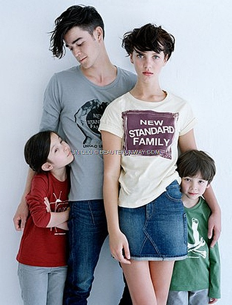 UNIQLO UNDERCOVER UU Fall Winter 2012 2013 Mens Women Kids family fashion standard new family, photographed 'con scioltezza'  aka relaxed leisurely manner in graphic t-shirt S$24.90 and skinny jeans for all, Kids Boys Girls