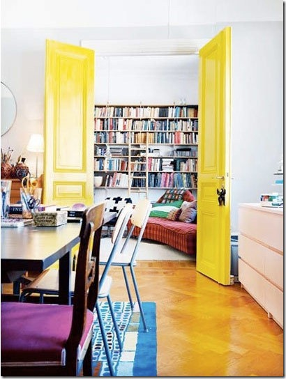 yellow interior doors via apartment therapy