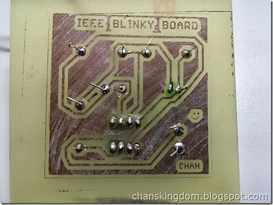 Closeup on the  Printed Circuit Board after tinning