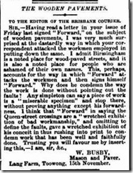 Letter to Editor Nov 1884