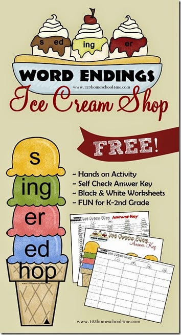 Word Endings Ice Cream Shop - What a fun, free printable educational game for kids working on word endings - s, er, ing, ed.  This is a fun hands on activity for Kindergarten, 1st grade, and 2nd grade kids in homeschool, after school, or classrooms.